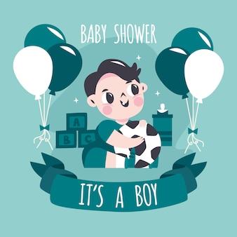 Tło prysznic chłopiec dziecko