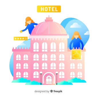Tło przeglądu płaskiego hotelu