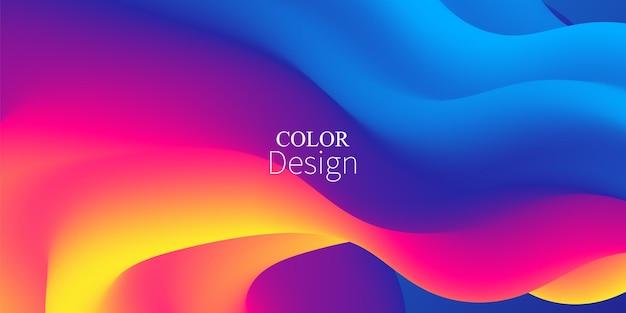Tło przepływu płynu. wzór fali płynu. letni plakat. kolorowy gradient. streszczenie okładka. płynna fala. żywy kolor.