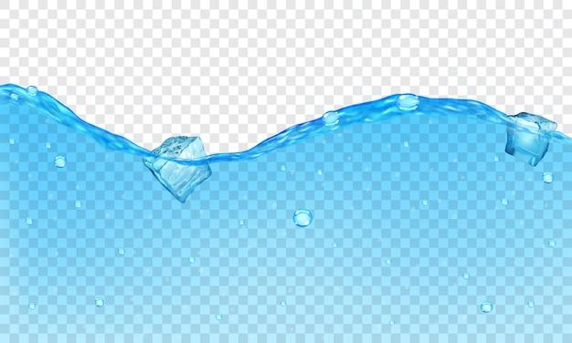 Tło przezroczystej wody z bąbelkami i pływającymi kostkami lodu