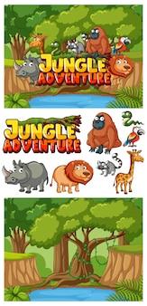 Tło przygody w dżungli ze zwierzętami w lesie