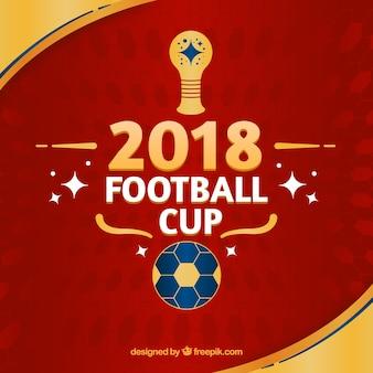 Tło puchar świata piłki nożnej z złotą piłkę w stylu płaski