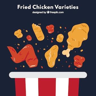 Tło pysznego smażonego kurczaka