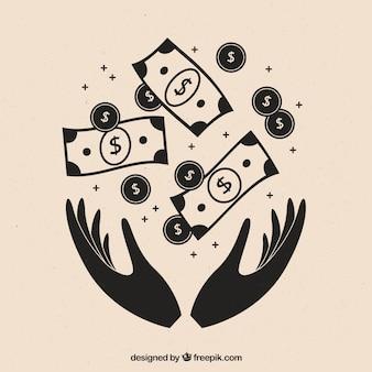 Tło rąk z banknotów i monet