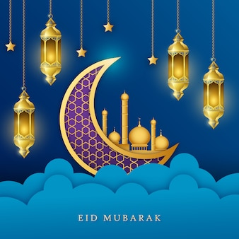 Tło ramadan kareem eid mubarak z wiszącą islamską złotą latarnią i dekoracją księżycową