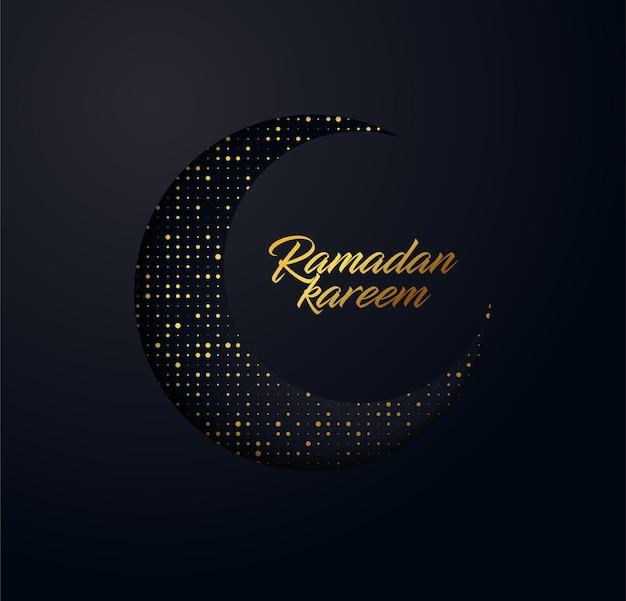 Tło ramadan kareem wykonane z błyszczących małych złotych kropek i efekt wyciętego papieru.