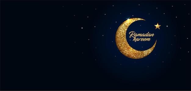 Tło ramadan kareem z półksiężycem wykonane z błyszczących małych złotych brokatowych kwadratów, styl pikselowy.