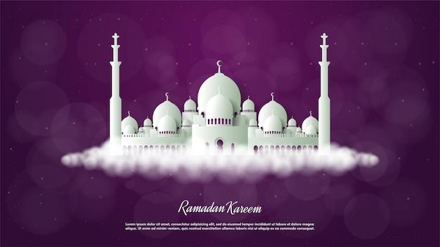 Tło ramadanu z ilustracją wyciętego z papieru białego meczetu.