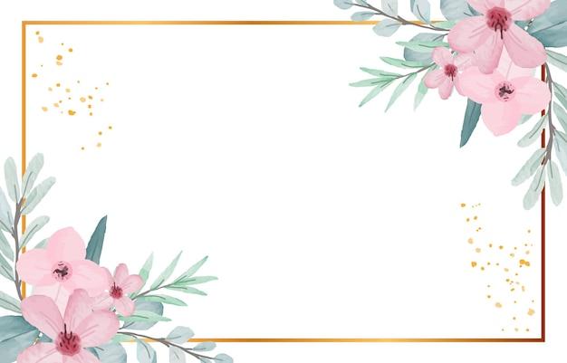Tło ramki akwarela kwiat