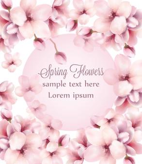 Tło ramki akwarela kwiaty wiśni