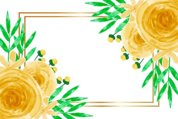 Tło ramki akwarela żółty kwiat