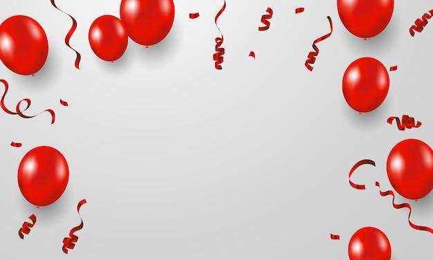 Tło ramki celebracja konfetti czerwonymi wstążkami. luksusowe bogate karty okolicznościowe.