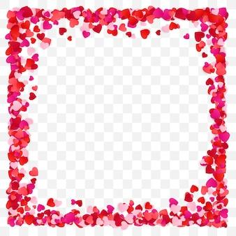 Tło ramki czerwone serce papieru