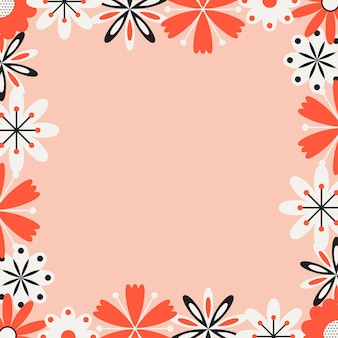 Tło ramki kwiat ludowy i tapeta, wiosenna ilustracja, wiosenny projekt graficzny