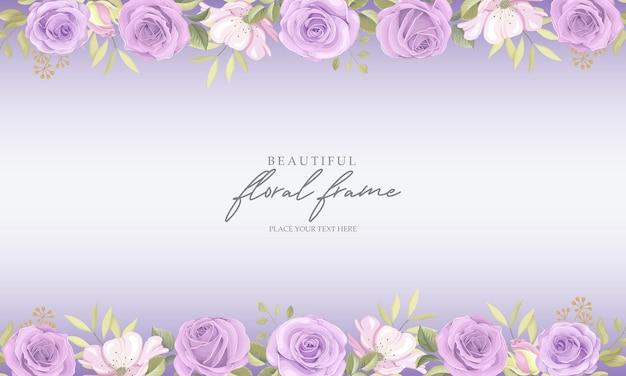 Tło ramki kwiatowy z fioletowymi różami