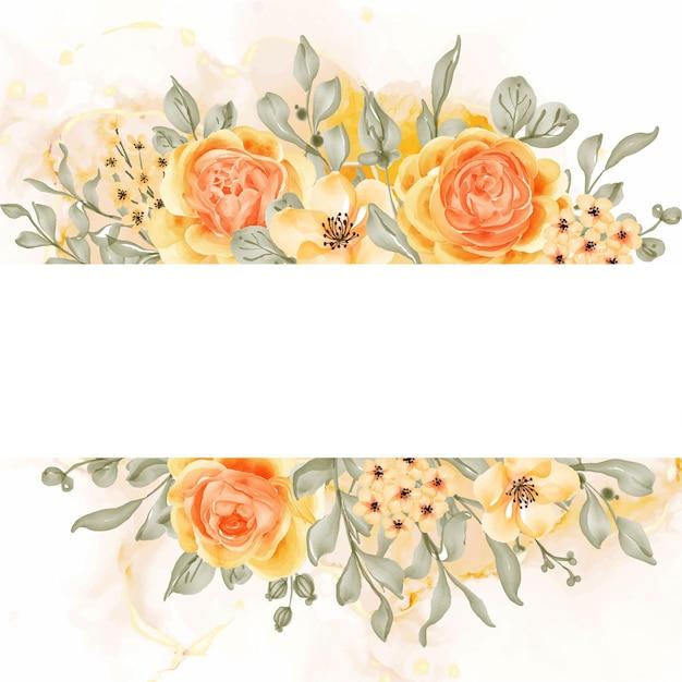 Tło ramki kwiatu róży talitha z białą przestrzenią, różowo-pomarańczowy żółty