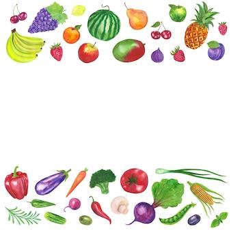 Tło ramki owoców i warzyw