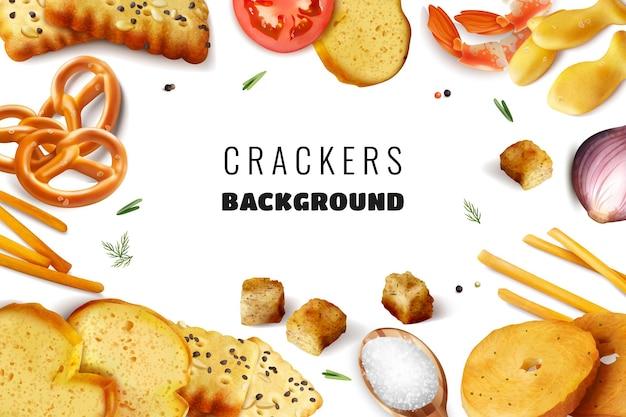 Tło ramki z krakersami przekąski tosty i różne składniki