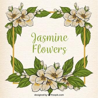 Tło ramki z kwiatów jaśminu i wyciągnąć ręcznie liści