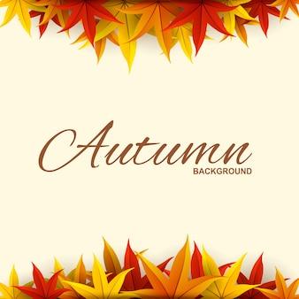 Tło ramki z liści jesienią czerwony, pomarańczowy i żółty