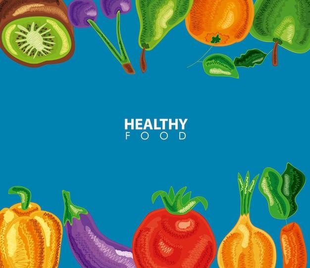 Tło ramki zdrowej żywności