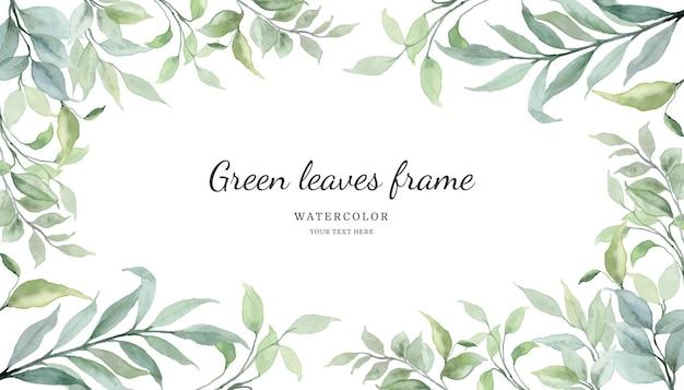 Tło ramki zielonych liści z akwarelą