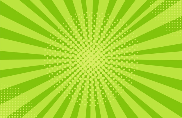 Tło rastra pop-artu. komiks starburst wzór. kreskówka retro sunburst efekt. zielony sztandar