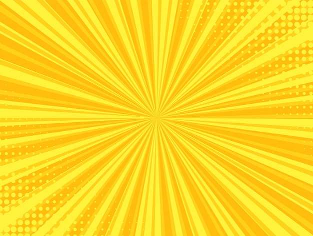 Tło rastra pop-artu. komiks starburst wzór. żółty nadruk kreskówkowy z kropkami i belkami