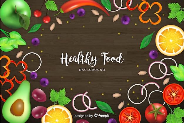 Tło realistyczne kolorowe zdrowej żywności