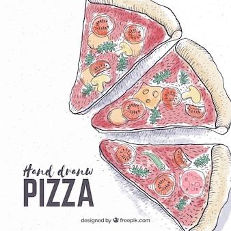 Tło ręcznie rysowanych kawałków pizzy