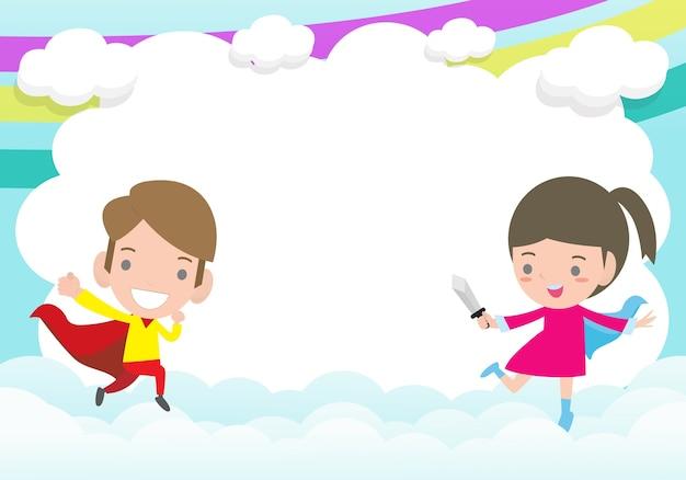 Tło reklamowe dla dzieci superbohaterów, szablon broszury reklamowej, tekst, słodkie małe dzieci superbohatera i ramka, bohater dziecięcy i kopia przestrzeń na białym tle na ilustracji tła