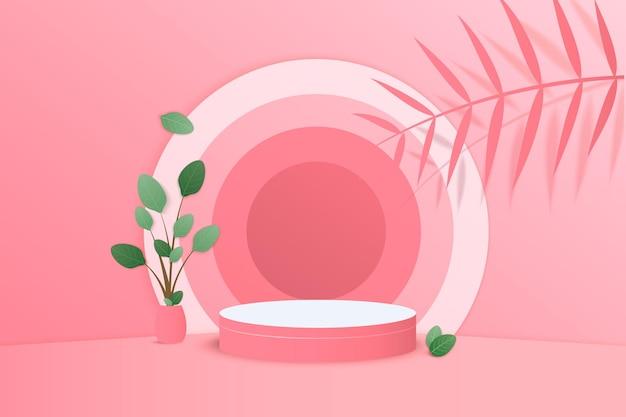 Tło renderowania 3d różowy z podium i minimalną różową sceną ścienną
