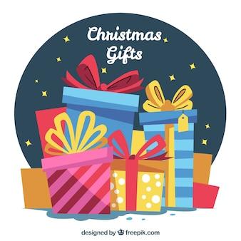 Tło retro pudełkach prezentów świątecznych