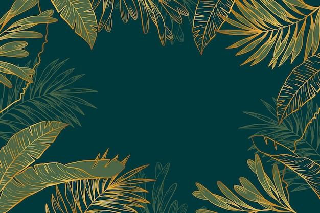 Tło roślinności ze złotymi detalami