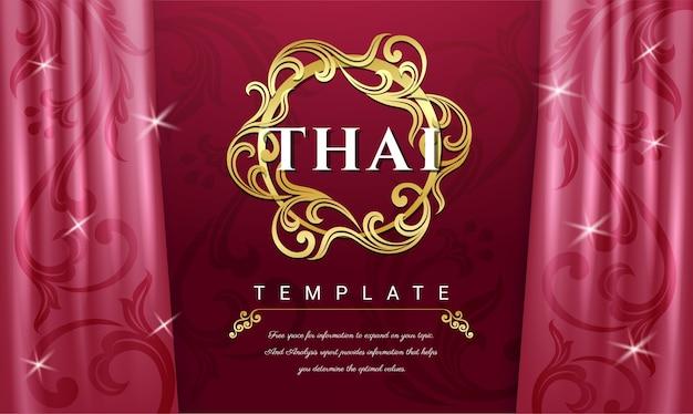 Tło różowe zasłony, tajska tradycyjna koncepcja.