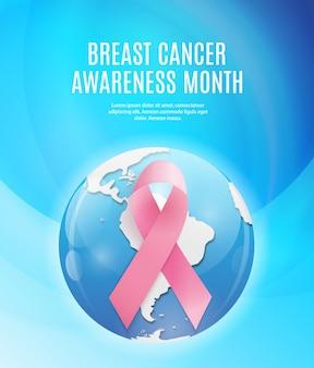 Tło różowy wstążka miesiąc świadomości raka piersi