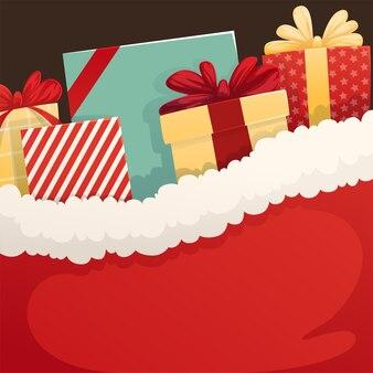Tło santa worek z prezentami świątecznymi. płaska ilustracja.