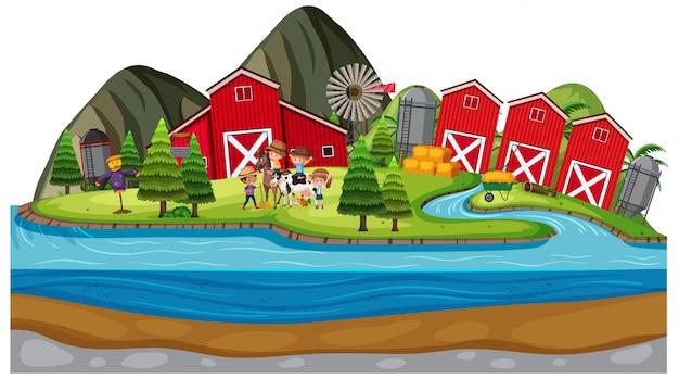 Tło scena rolnicy na gospodarstwie rolnym