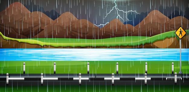 Tło scena z deszczem na drodze