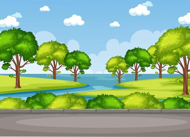 Tło scena z drzewami i jeziorem w parku