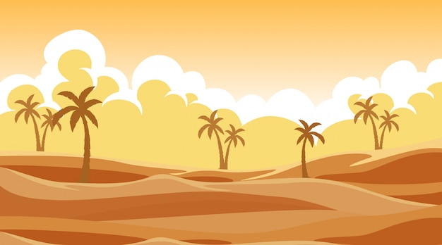 Tło scena z drzewami w piasku