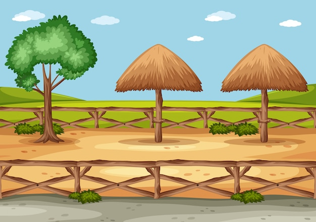 Tło scena z drzewem i drewnianym ogrodzeniem