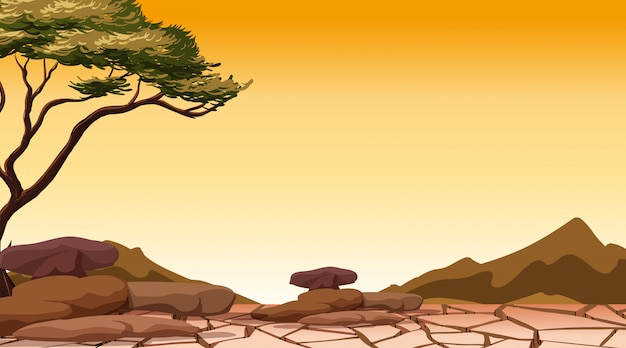 Tło scena z drzewem w suchym lądzie