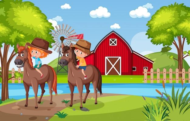 Tło scena z dzieciakami jedzie konie w parku