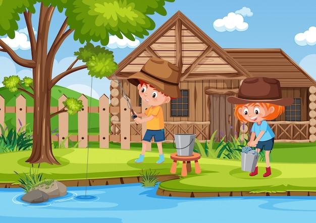 Tło scena z dzieciakami łowi w parku