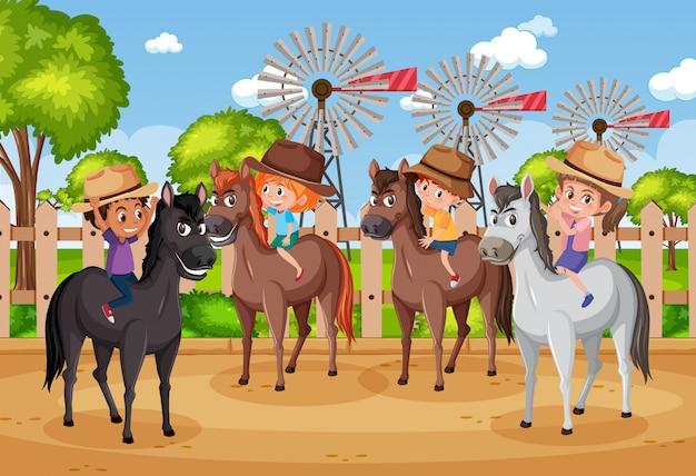 Tło scena z dziećmi jedzie konie w parku