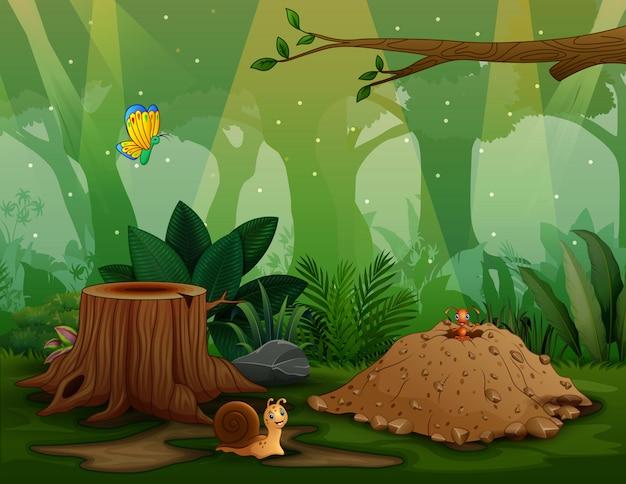 Tło scena z insektami w naturze