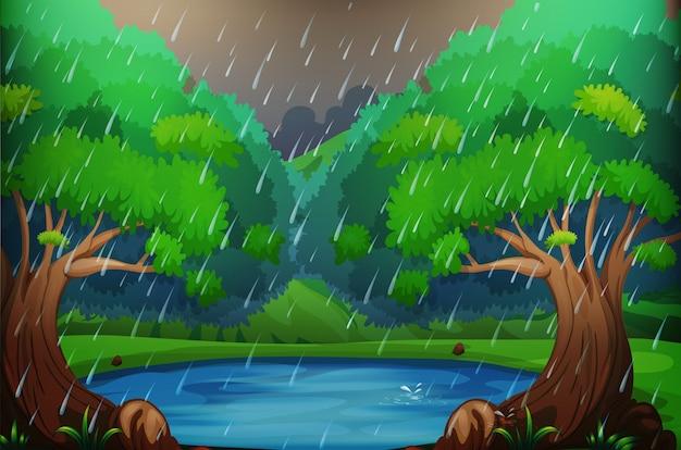 Tło scena z lasem w deszczu