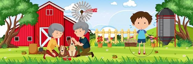 Tło scena z ludźmi w gospodarstwie rolnym