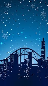 Tło scena z miastem przy nocą
